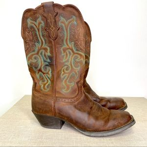 """Justin 12"""" Square Toe Stampede Western Boots 9.5C"""